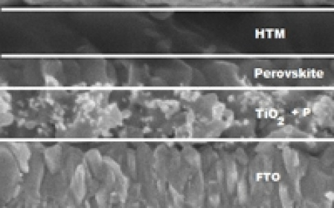 Scanning electron microscopy of a perovskite-solar cell: on a glass substrate (glass and FTO) highly porous titanium dioxide is deposited, which is impregnated with perovskite. This film is covered by an organic hole transporting material (HTM) and gold c