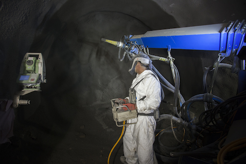 A sprayed concrete lining approach is used to create wider tunnels