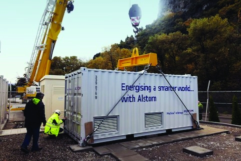 The project uses Saft's shipping-container based megawatt Li-ion battery technology teamed with Alstom's MaxSine 'estorage' converters