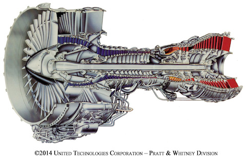 Cut away of Pratt & Whitney's Pure Power engine