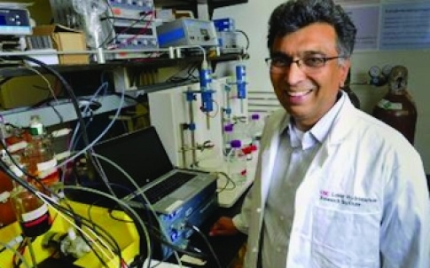 USC professor Sri Narayan's research focuses on the fundamental and applied aspects of electrochemical energy conversion and storage to reduce the carbon footprint of energy use and by providing energy alternatives to fossil fuel