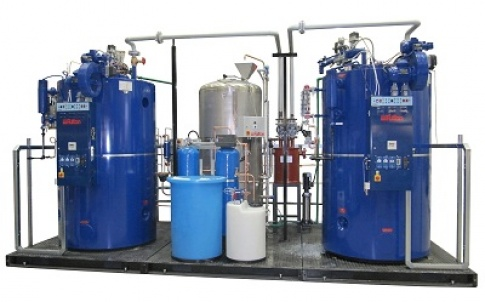 Skid-mounted, dual-fuel-fired steam boiler package