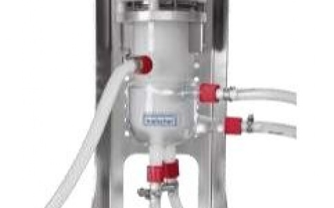 Ultrasonic flow cell reactors allow for continuous processing