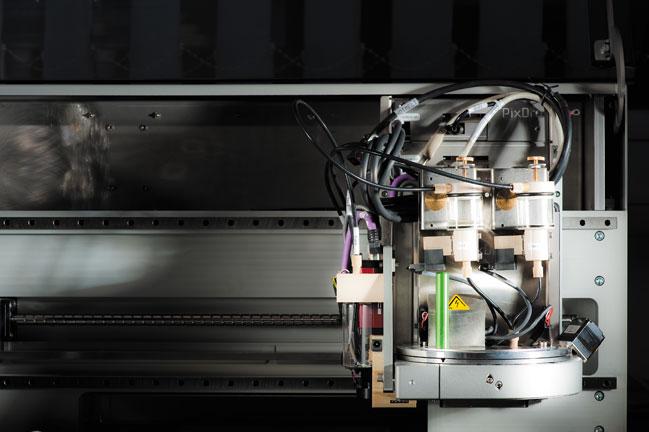 A multi-material jetting head in a PixDro printer
