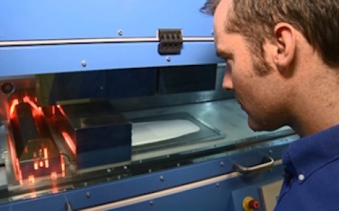 Unlike existing AM techniques, in which a laser is used to fuse the powder, high speed sintering uses an infra-red-absorbing ink