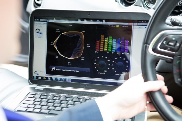 JLR explained how it hopes to monitor brain activity through steering wheel sensors, using an on-board computer to analyse the data.