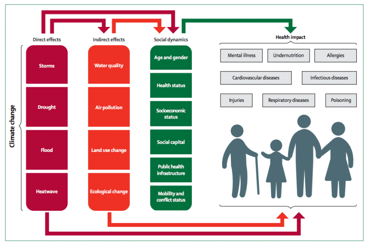 The direct and indirect effects of climate change on health and wellbeing