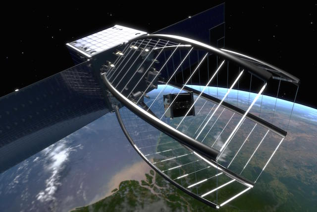 EPFL's Clean Space One Project aims to trap a cubesat in a conical net