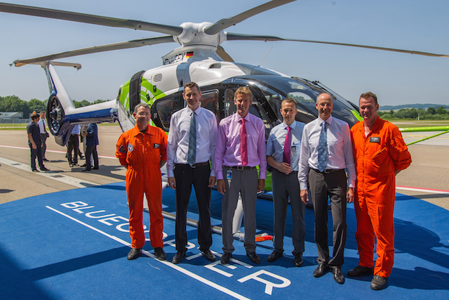 From left: Michael Schulz, experimental flight test engineer; Marius Bebesel program manager research and innovation in charge of the Bluecopter demonstrator;  Jean-Brice Dumont, executive vice president engineering Airbus Helicopters; Stefan Thomé, head