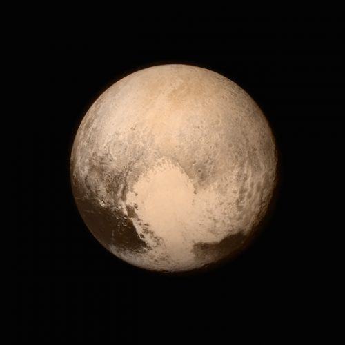 Pluto nearly fills the frame in this image from the Long Range Reconnaissance Imager (LORRI) aboard NASA's New Horizons spacecraft, taken on July 13, 2015 when the spacecraft was 476,000 miles (768,000 kilometers) from the surface