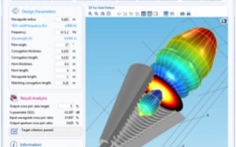 Corrugated circular horn antenna demo app