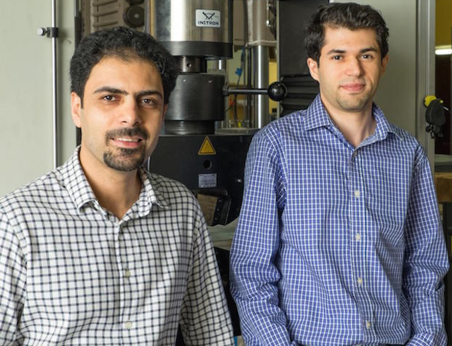 Rice University researchers Rouzbeh Shahsavari (left) and Navid Sakhavand have calculated the flow of heat across simulated structures of hexagonal boron nitride and boron nitride nanotubes. They report such structures may be suitable for controlling heat