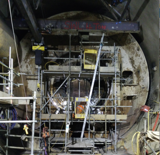 The cutter head of TBM Elizabeth, which is slowly being broken apart and removed from the tunnel.