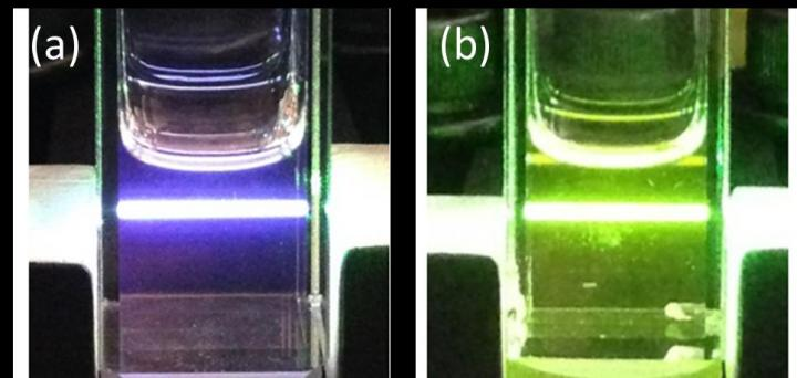 Photographs of upconversion in a cuvette containing (a) an optimized cadmium selenide /9-ACA/DPA and (b) a cadmium selenide /ODPA/DPA mixture.