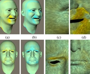 The engineers created the realistic virtual characters by capturing the details of the skin at resolution levels of approximately ten microns.