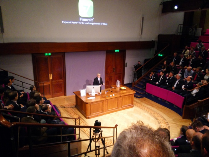 Lord Drayson speaking at the Faraday Theatre