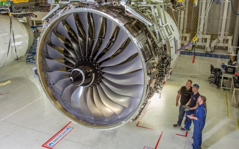 Trent XWB-97 engine that will be equipped with an ALM printed front-bearing housing