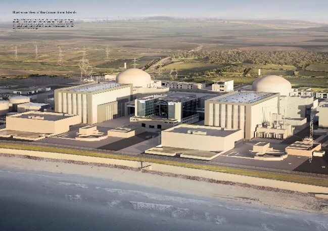 Artist's impression of twin reactors at Hinkley Point C nuclear power station