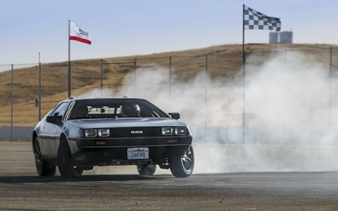 MARTY, Stanford's autonomous, electric DeLorean, takes a spin at Thunderhill Raceway