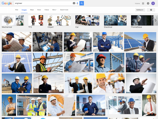 Search engines and stock image sites reinforce gender stereotypes in engineering