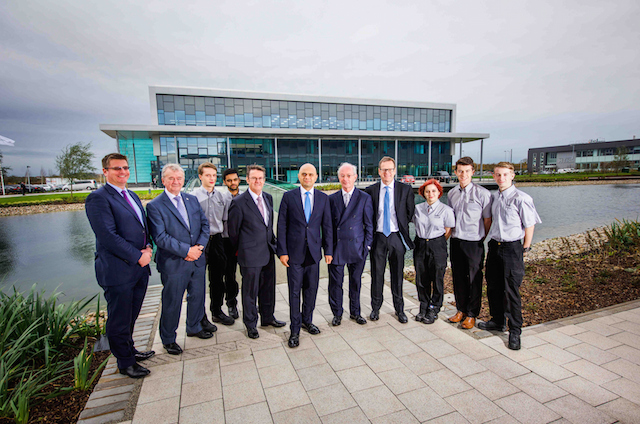 L-R: James Walton Director, Lloyds Manufacturing mid markets, Terry Morgan (chairman MTC) apprentices: John Hubbbard , Jugjeevan Singh,  Clive Hickman (CEO MTC) business secretary Sajid Javid, Lord Blackwell, chairman of Lloyds Banking Group, Tim Hinton,