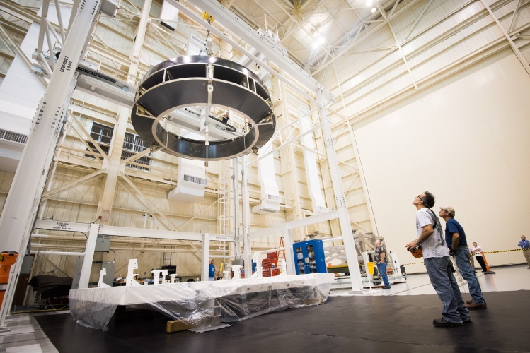 Lockheed Martin technicians lift the Orion Crew Module Adapter Structural Test Article at NASA Glenn Research Center's Plum Brook Station. The adapter will connect Orion's crew module to a service module provided by ESA
