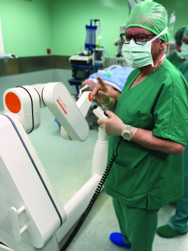 The Neuro-mate robot is an unobtrusive presence in the operating theatre