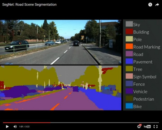 SegNet in action: the separate components of the road scene are all labelled in real time. (Credit: Alex Kendall)