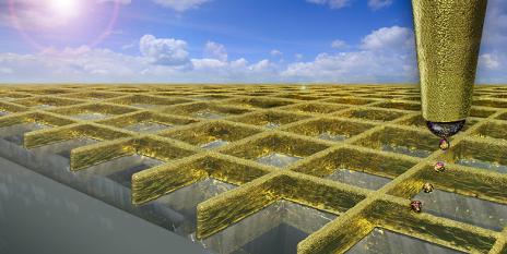 Using a type of electrohydrodynamic ink-jet printing scientists can create a grid of ultra fine gold walls. (Visualisations: Ben Newton / Digit Works)