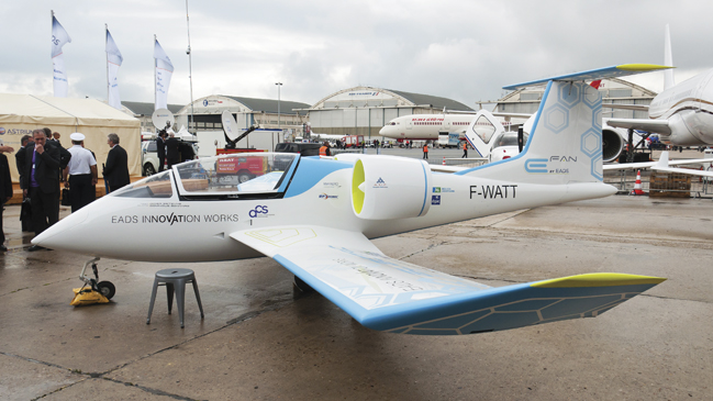 The E-Fan electric aircraft is a long-term goal for Botti and his team; this two-seater version last year became there first electric aircraft to cross the English Channel