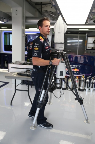Red Bull uses a portable AT960 Leica Absolute Tracker in the pit lane garage