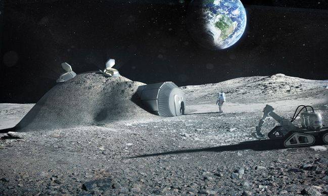 Foster & Partners developed this concept for an ISRU lunar base