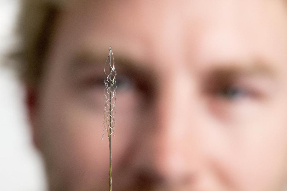 The stentrode is implanted in to a blood vessel next to the brain and can read electrical signals from the motor cortex, the brain's control centre (Credit: The University of Melbourne)