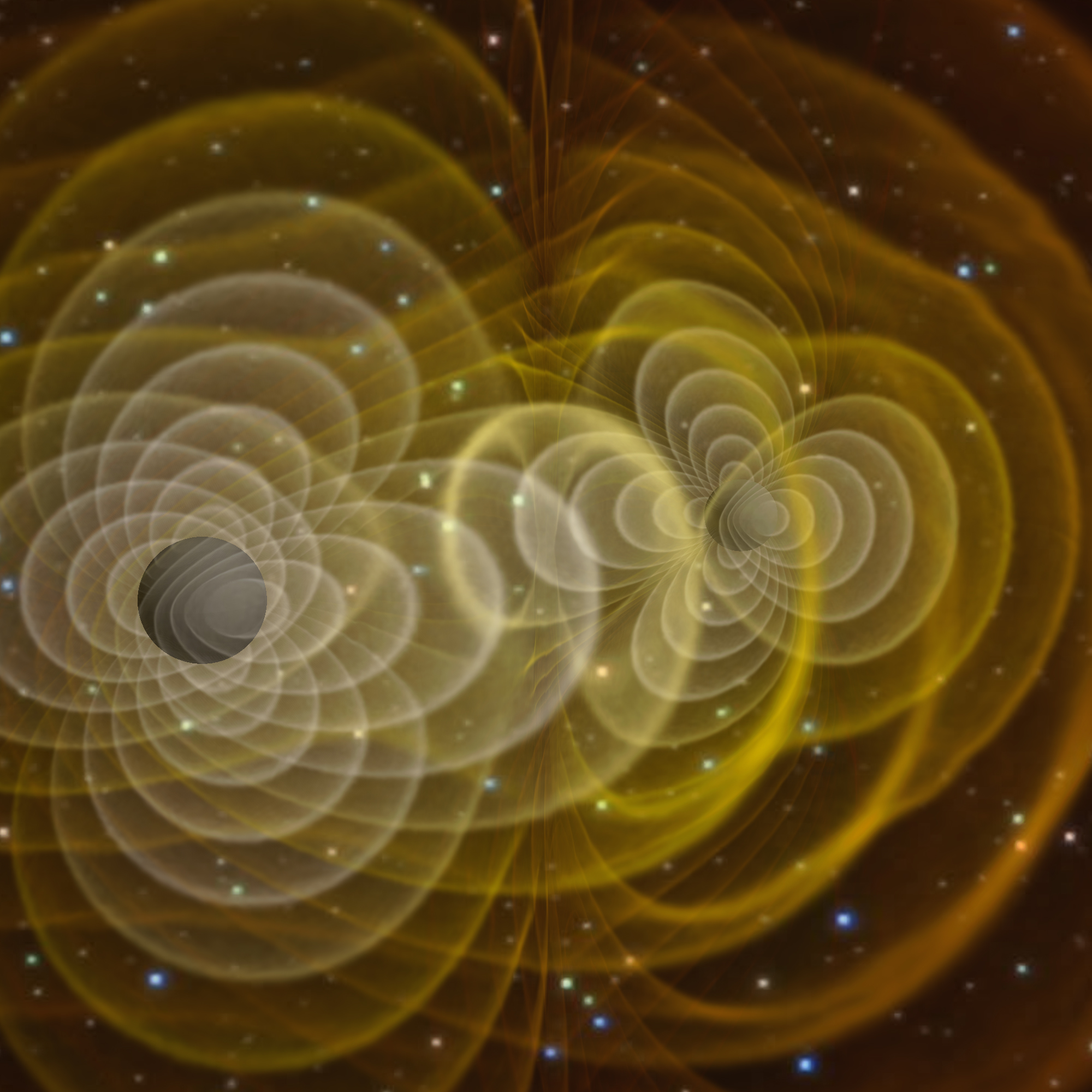 LIGO's vidsualisation of the gravity waves emitted by the orbiting black holes (known as 'inspiraling')