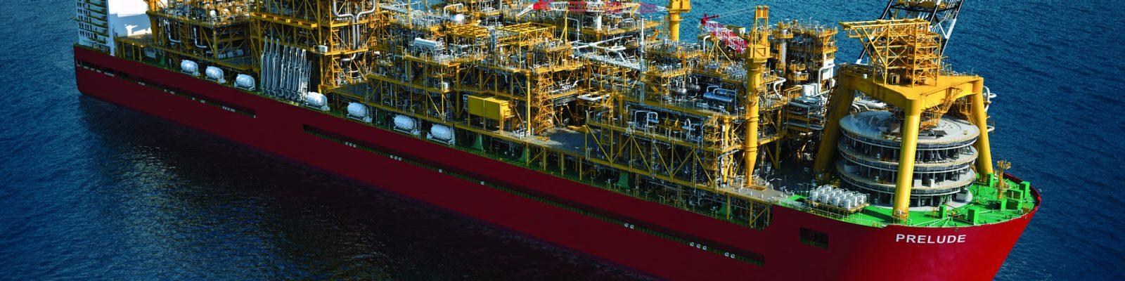 Digital impression of Prelude FLNG facility at sea