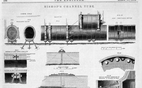 The Bishop's Channel Tunnel Tube, made from cast-iron sections lined with bricks and cement, was designed to sit on the seabed's surface