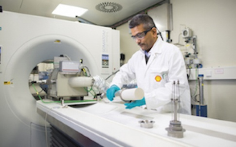Scanning a core sample with a medical CT scanner