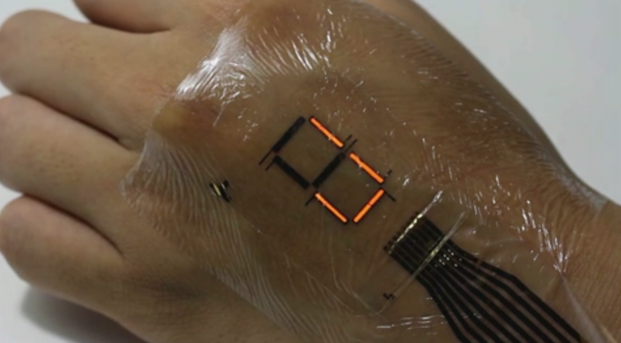 The e-skin could be used to display medical information. (Credit: Someya Laboratory)