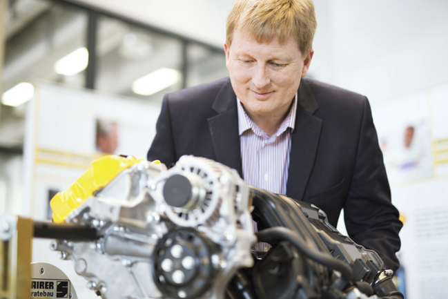 Bob Mainwaring of Shell Lubricants inspects the Project M engine