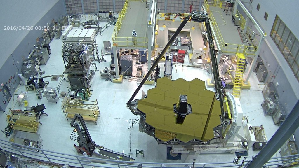 6.5m diameter primary mirror of the James Webb Space Telescope is uncovered for the first time