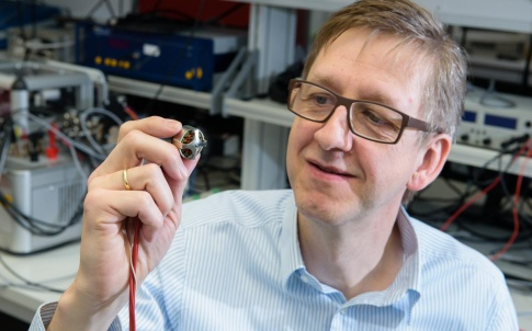 Prof Matthias Nienhaus with one of his team's mart motors