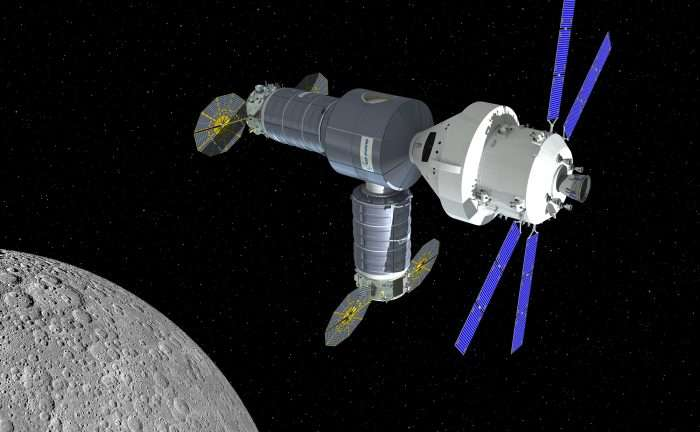 Artist's impression of the Cygnus-derived cislunar station with Orion docked. Image: Orbital ATK