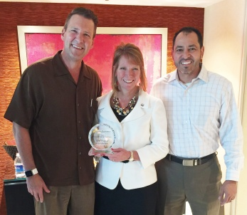 Pictured from left to right are executives Jeff Thomson from ON Semiconductor, Kristin Schuetter from Mouser Electronics, and Richard Diaz from ON Semiconductor