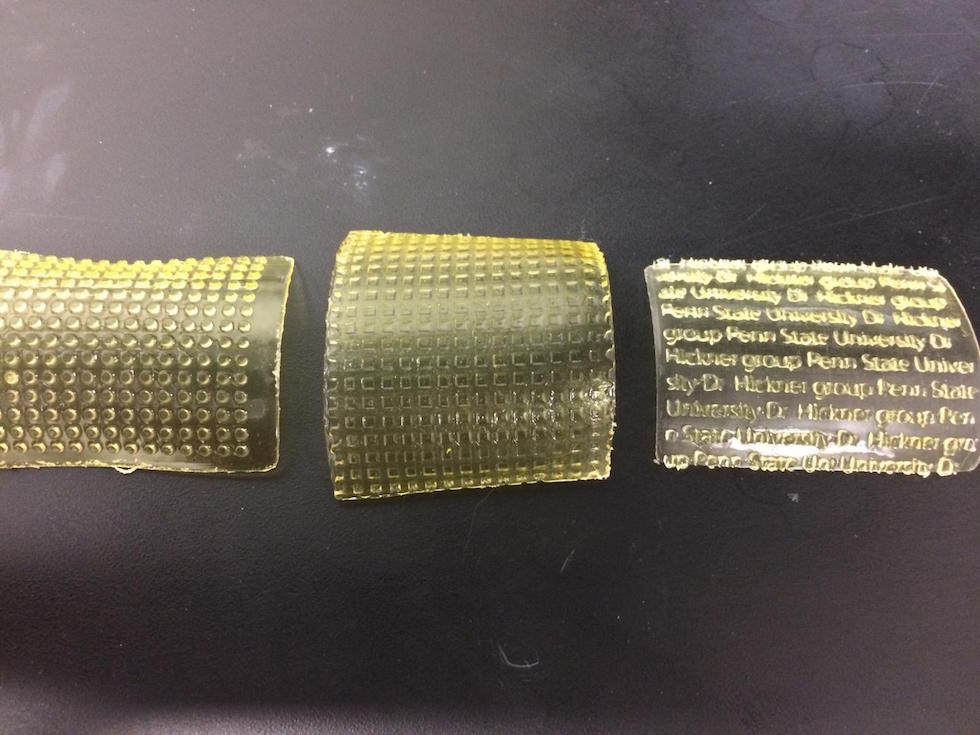 Patterned membranes were created by 3D printing. Credit: Hickner Group/Penn State