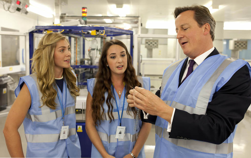 PM David Cameron visiting Abbott's manufacturing site in his constituency of Witney. Photo credit: David Parry/PA