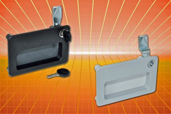 Recessed pull handle with integral latch/lock from Elesa UK