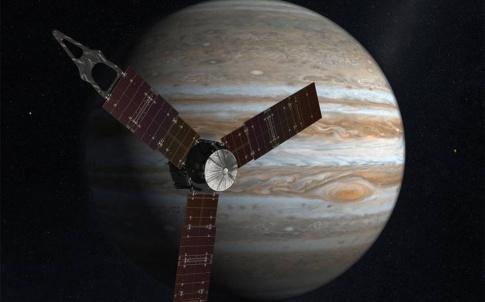 Artist's impression of Juno approaching Jupiter. Image: NASA