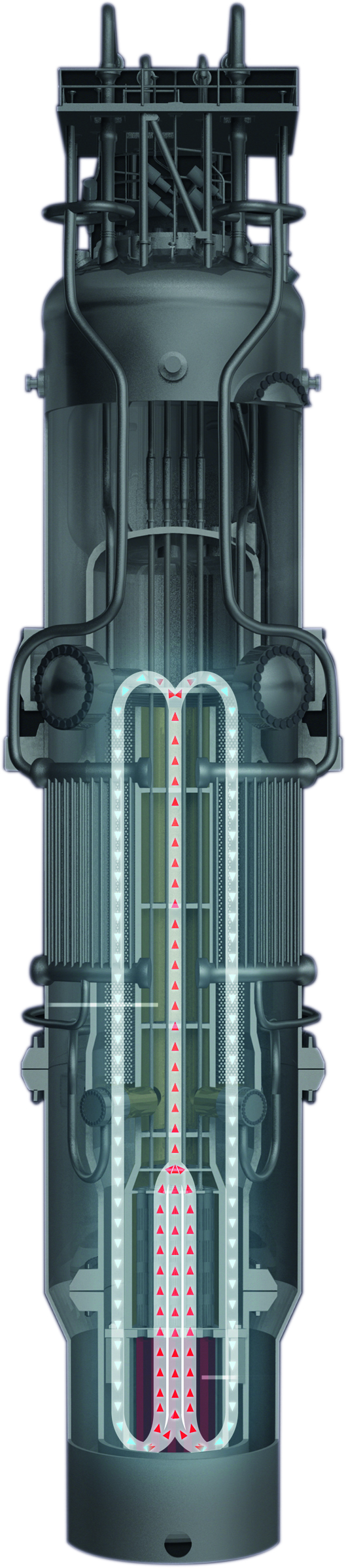 The NuScale SMR design, with the 9.5tonne reactor head husing the cotrol system and coolant access