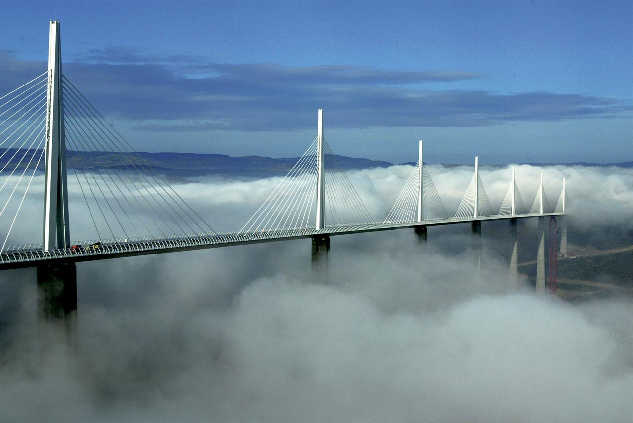 Millau Viaduct, a striking example of modern cable-stayed design, by engineer Michel Virlogeaux and architect Norman Foster