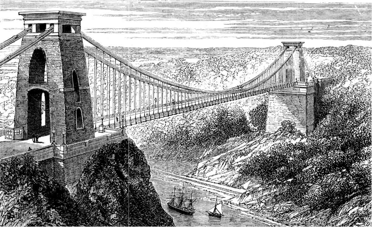 A contemporary engraving of Clifton Bridge at its opening